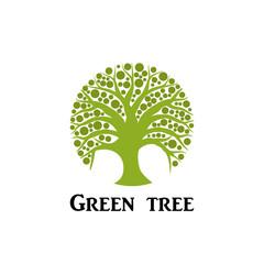 Green tree circle icon