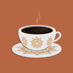 Cup of coffee with ornate eastern round elements