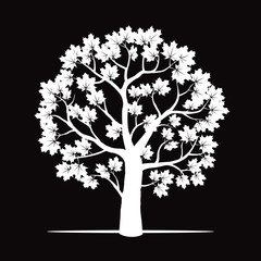 White Marple Tree. Vector Illustration.