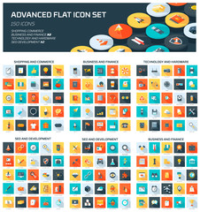Advanced Web Icon Set flat style, colorful, vector icon set