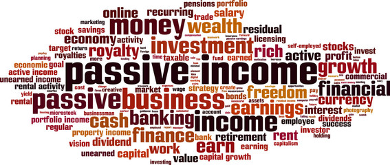 Passive income word cloud concept. Vector illustration
