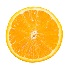 Slice of orange fruit isolated with clipping path