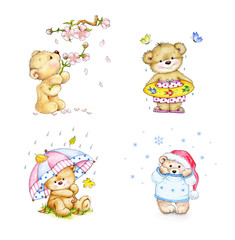 Set of Teddy bears in four seasons