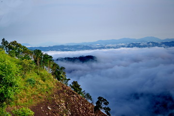 fog and cloud mountain valley landscape, Nan province Thailand