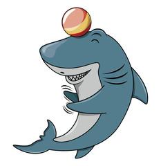 Shark playing ball