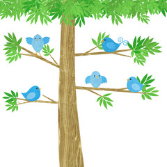 Cute Little Birds in a Tree