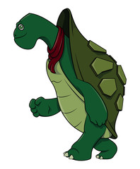 Running Turtle cartoon illustration
