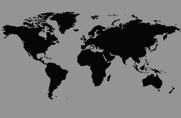 The black world map on the earth