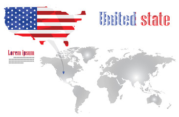 The united state map is on the world map