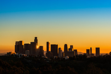 View of downtown Los Angeles at golden hour