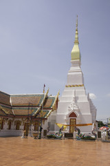 The white, golden pagoda in Thaiiland.