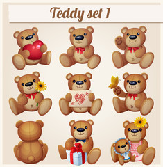 Teddy bears set. Part 1. Cartoon vector illustration