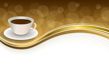 Abstract background coffee cup brown gold ribbon frame