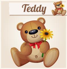 Teddy bear with yellow flower. Cartoon vector illustration