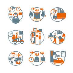 Logistic circle grey orange icons set