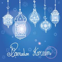 Lantern of Ramadan Kareem.Doodle greeting card