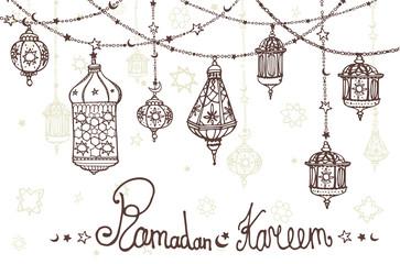 Lantern garland of Ramadan Kareem.Doodle greeting card