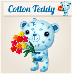 Blue cotton teddy bear. Cartoon vector illustration. Series of