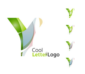 Set of abstract Y letter company logos. Business icons