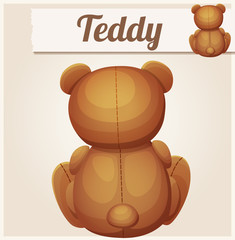 Teddy bear sits back. Cartoon vector illustration. Series of