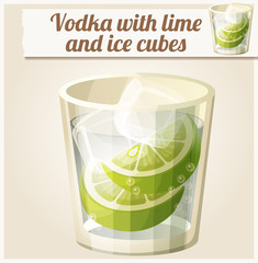 Vodka with lime and ice cubes. Detailed Vector Icon