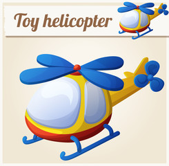 Toy helicopter. Cartoon vector illustration. Series of children