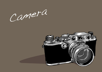 classic camera in brown background