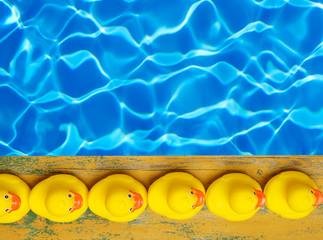 Rubber ducks near the pool