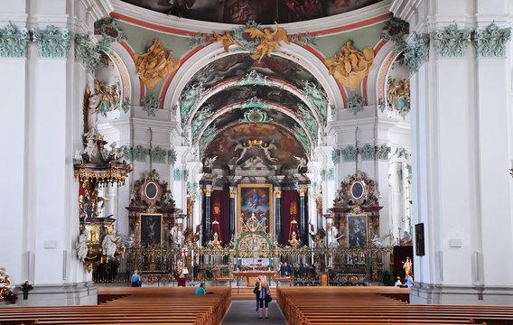 St. Gallen cathedral interior. Swiss landmark, listed on Unesco