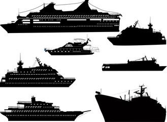 seven ship silhouettes isolated onwhite