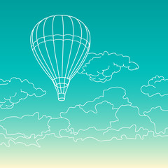 Air balloon flying in the clouds vector illustration
