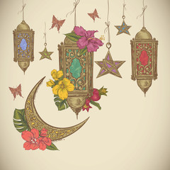 Traditional greeting card with arabic  lantern, flowers and