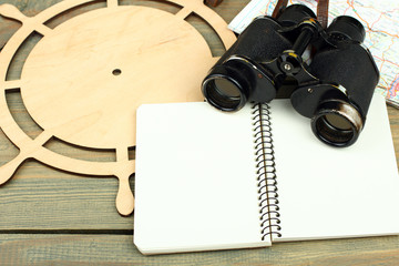 traveling equipment camera binoculars letters and postcard