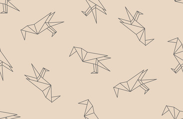 Vector seamless pattern with japanese origami black linear raven birds silhouettes.