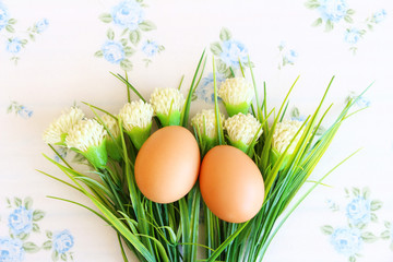 Eggs old vintage style on retro background