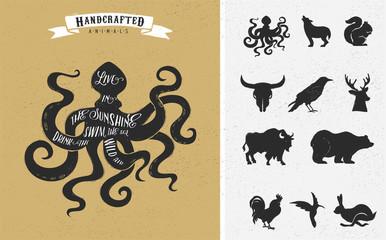 inspiration quote hipster vintage design set