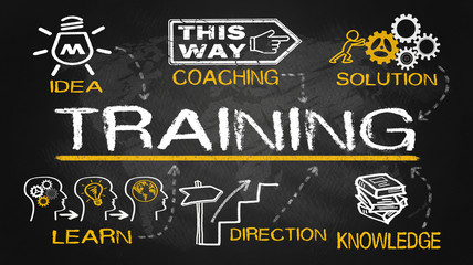 training concept with education elements