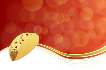 Abstract background food taco red yellow wave frame illustration vector
