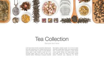 large tea selection on white background