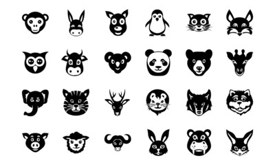 Animal Faces Vector Icons 1