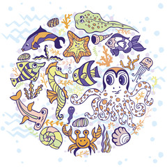 Cartoon Funny Fish, Sea Life circle background.Pastel colors