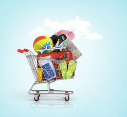 Shopping cart with beach accessories. Summer shopping. Sunbed, s