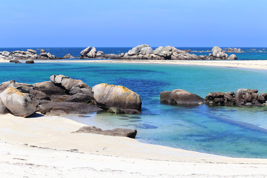 Boulders and beach at Kerlouan, Brittany, France