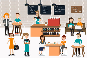 People meeting in the coffee shop infographics elements.illustra