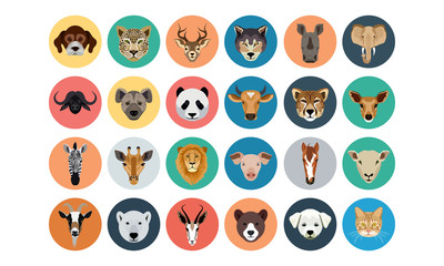 Animals Flat Colored Icons 1