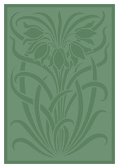 Green silhouette of flowers ornament. Figure bouquet in the form of a stencil. Vector pattern