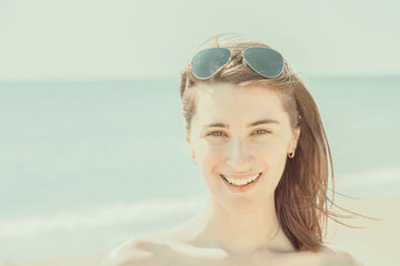 Retro Effect Of Pretty Young Woman Portrait Is Happy On Summer Ocean Beach