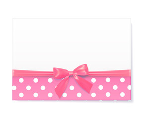 Template for baby shower celebration. Greeting card with pink ri