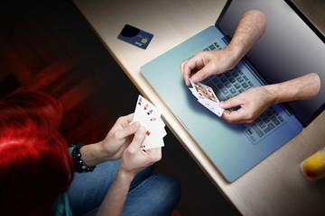 woman playing online poker game