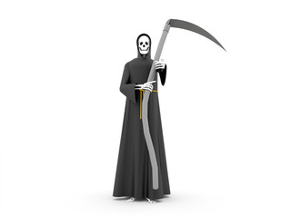 Grim Reaper rendered isolated on white